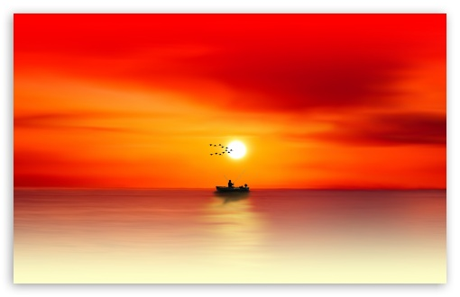 Download Fishing Sunset Painting HD Wallpaper