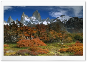 Fitzroy And Beech Trees In Autumn Los Glaciares National Park Patagonia Argentina HD Wide Wallpaper for Widescreen