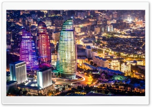 Flame Towers, Baku, Azerbaijan HD Wide Wallpaper for Widescreen