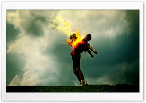 Flaming Football HD Wide Wallpaper for Widescreen