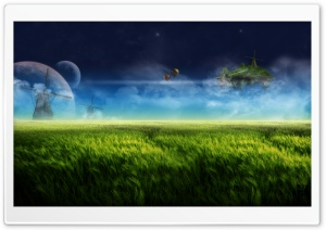 Floating Island And Windmill Blue HD Wide Wallpaper for Widescreen