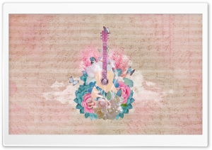 Floral Guitar Ultra HD Wallpaper for 4K UHD Widescreen desktop, tablet & smartphone