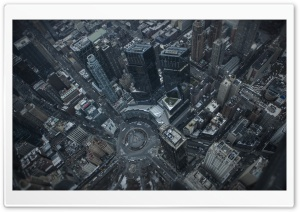 Flying above Columbus Circle, New York City HD Wide Wallpaper for 4K UHD Widescreen desktop & smartphone