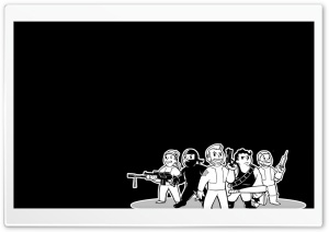 FO3 Vault Boys Black and White HD Wide Wallpaper for Widescreen