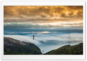 Fog Over Golden Gate Bridge HD Wide Wallpaper for 4K UHD Widescreen desktop & smartphone