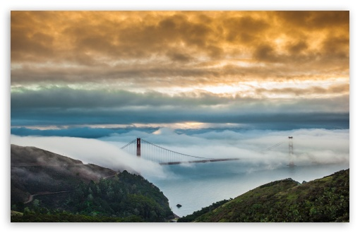 Fog Over Golden Gate Bridge HD wallpaper for Standard 4:3 5:4 Fullscreen UXGA XGA SVGA QSXGA SXGA ; Wide 16:10 5:3 Widescreen WHXGA WQXGA WUXGA WXGA WGA ; HD 16:9 High Definition WQHD QWXGA 1080p 900p 720p QHD nHD ; Other 3:2 DVGA HVGA HQVGA devices ( Apple PowerBook G4 iPhone 4 3G 3GS iPod Touch ) ; Mobile VGA WVGA iPhone iPad PSP Phone - VGA QVGA Smartphone ( PocketPC GPS iPod Zune BlackBerry HTC Samsung LG Nokia Eten Asus ) WVGA WQVGA Smartphone ( HTC Samsung Sony Ericsson LG Vertu MIO ) HVGA Smartphone ( Apple iPhone iPod BlackBerry HTC Samsung Nokia ) Sony PSP Zune HD Zen ; Tablet 2 Android ;