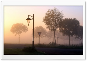 Foggy Crossroads HD Wide Wallpaper for Widescreen