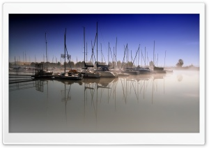 Foggy Harbor HD Wide Wallpaper for Widescreen