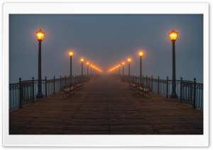 Foggy Pier HD Wide Wallpaper for Widescreen