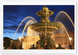 Fontaine de la Concorde at night, Paris, France HD Wide Wallpaper for Widescreen