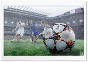 Football in the Rain HD Wide Wallpaper for Widescreen