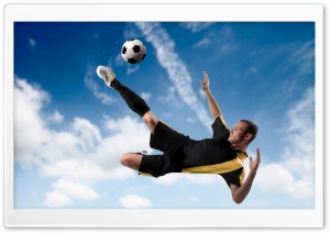 Football Player Kicking The Ball in Mid Air HD Wide Wallpaper for Widescreen