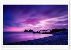Footbridge at Sanxiantai, Taiwan HD Wide Wallpaper for Widescreen