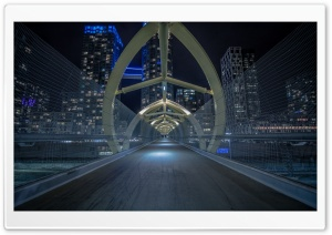 Footbridge, Night HD Wide Wallpaper for Widescreen