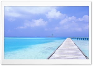 Footbridge Over Blue Ocean HD Wide Wallpaper for Widescreen