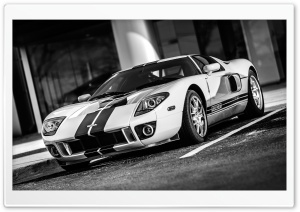 Ford GT Car Black and White Ultra HD Wallpaper for 4K UHD Widescreen desktop, tablet & smartphone