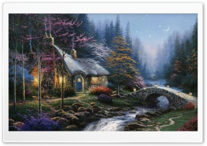Forest Cottage Spring Painting HD Wide Wallpaper for Widescreen