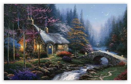 Forest Cottage Spring Painting HD wallpaper for Wide 16:10 5:3 Widescreen WHXGA WQXGA WUXGA WXGA WGA ; HD 16:9 High Definition WQHD QWXGA 1080p 900p 720p QHD nHD ; Standard 4:3 5:4 3:2 Fullscreen UXGA XGA SVGA QSXGA SXGA DVGA HVGA HQVGA devices ( Apple PowerBook G4 iPhone 4 3G 3GS iPod Touch ) ; Tablet 1:1 ; iPad 1/2/Mini ; Mobile 4:3 5:3 3:2 16:9 5:4 - UXGA XGA SVGA WGA DVGA HVGA HQVGA devices ( Apple PowerBook G4 iPhone 4 3G 3GS iPod Touch ) WQHD QWXGA 1080p 900p 720p QHD nHD QSXGA SXGA ;