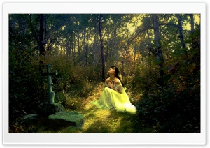Forest Girl HD Wide Wallpaper for Widescreen