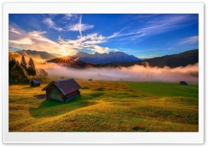 Forest House Rays Mountains HD Wide Wallpaper for 4K UHD Widescreen desktop & smartphone