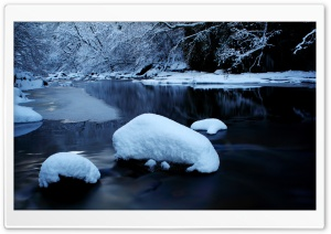 Forest River In Winter HD Wide Wallpaper for 4K UHD Widescreen desktop & smartphone