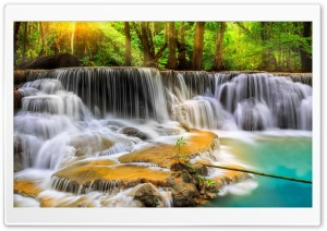 Forest, Trees, River, Rocks, Waterfall Ultra HD Wallpaper for 4K UHD Widescreen desktop, tablet & smartphone