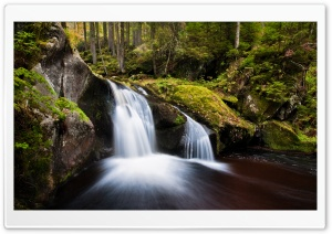 Forest Waterfall, Long Exposure HD Wide Wallpaper for Widescreen