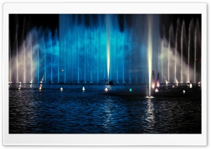 Fountain, Night HD Wide Wallpaper for Widescreen