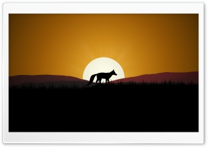Fox Sunset HD Wide Wallpaper for Widescreen