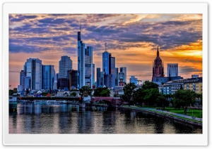 Frankfurt Skyscrapers Skyline, Main River, Germany HD Wide Wallpaper for 4K UHD Widescreen desktop & smartphone