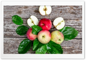 Fresh Apples, Leaves, Wooden Ultra HD Wallpaper for 4K UHD Widescreen desktop, tablet & smartphone