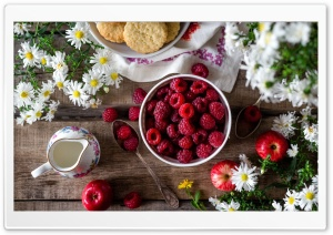 Fresh Raspberries Fruits bowl, Wooden Table HD Wide Wallpaper for Widescreen