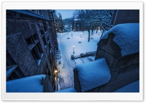 Fresh Snow On The Balcony HD Wide Wallpaper for Widescreen