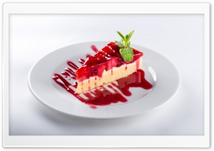 Fresh Strawberry Cake Slice HD Wide Wallpaper for Widescreen