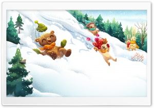Friends Having Fun Winter illustration HD Wide Wallpaper for 4K UHD Widescreen desktop & smartphone