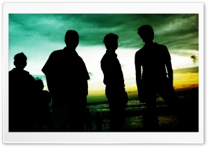 Friends Silhouette At Beach HD Wide Wallpaper for Widescreen