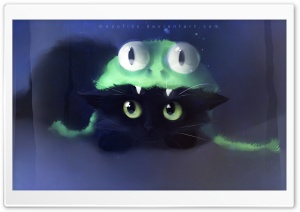 Frog Cat Painting HD Wide Wallpaper for Widescreen