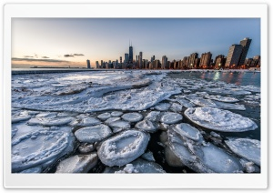 Frozen Chicago Skyline HD Wide Wallpaper for Widescreen