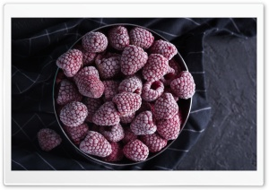 Frozen Raspberries Bowl Ultra HD Wallpaper for 4K UHD Widescreen desktop, tablet & smartphone