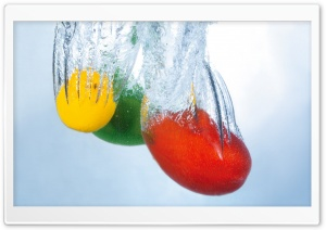 Fruits Splashing Into Water HD Wide Wallpaper for Widescreen
