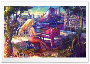 Fuji Choko Playing Piano HD Wide Wallpaper for Widescreen