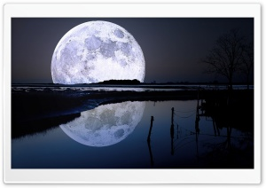Full Moon Reflection HD Wide Wallpaper for Widescreen
