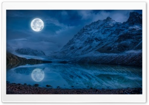 Full Moon Reflection Water HD Wide Wallpaper for Widescreen
