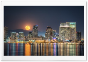 Full Moon Rising, San Diego HD Wide Wallpaper for 4K UHD Widescreen desktop & smartphone