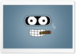 Futurama Bender Cigar HD Wide Wallpaper for Widescreen