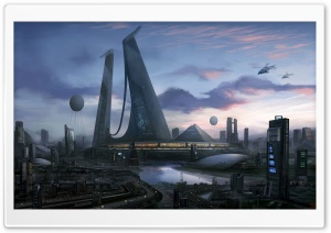 Futuristic City Art HD Wide Wallpaper for Widescreen