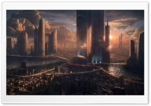 Futuristic Cityscape HD Wide Wallpaper for Widescreen
