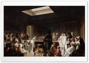 Game of Billiards Painting by Louis Leopold Boilly HD Wide Wallpaper for Widescreen