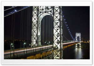 George Washington Bridge at Night HD Wide Wallpaper for Widescreen