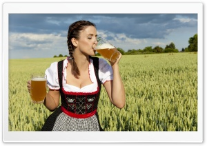 German Woman Drinking Beer HD Wide Wallpaper for Widescreen